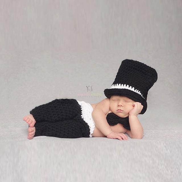 Handmade Newborn Photography Props Black Gentleman Crochet Infant Hats Baby  Boy Props Knitted Hat Chapeu Infantil Cute 3f262afa90c