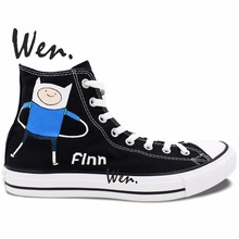 Wen Black Hand Painted Shoes Design Custom Adventure Time Christmas Gifts Woman Man's High Top Canvas Sneakers