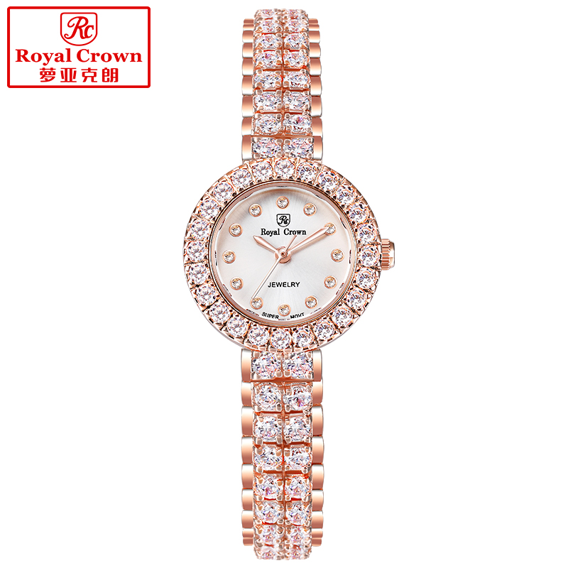 цены Royal Crown Lady Women's Watch Japan Quartz Jewelry Hours Fine Fashion Setting Crystal Bracelet Luxury Rhinestones Girl Gift