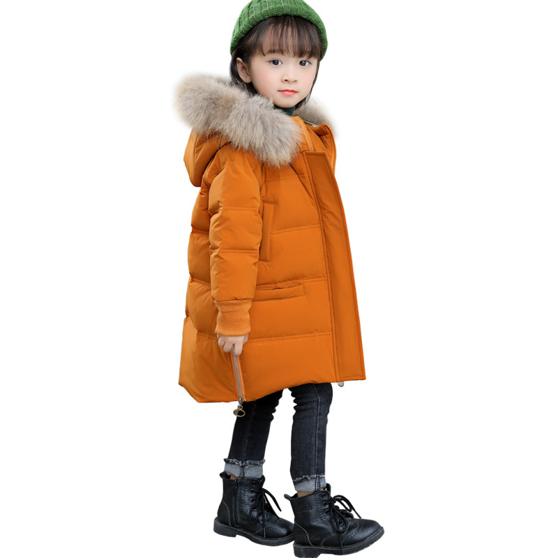 Girls Fur Collar Hooded Down Parkas Boys Winter Thicken Cotton-Padded Jacket Kids Long Comfortable Warm Overcoat AA51900 winter jacket women 2017 mid long thicken warm cotton padded down parkas coat faux fur collar hooded jacket for girl