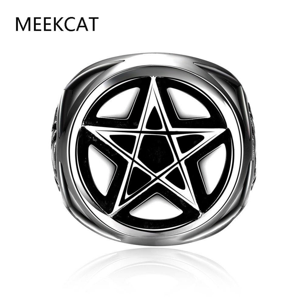 High Quality Amazing Five-Pointed Star Ring Stainless Steel Fashion Jewelry Hot Sale Star Pentagram Band ring(MEEKCAT MR3219)