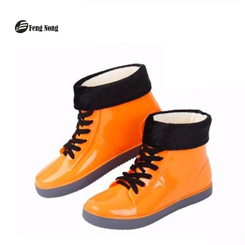 Feng Nong colorful rain boots waterproof flat shoes woman rain woman water flower rubber ankle boots slip on botas myl333