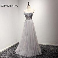 Yeni Varış O Boyun A-Line Gri abiye Uzun Boncuklu Dantel Örgün elbise abendkleid vestido de festa vestido longo