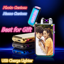 Фотография Personal Custom Rechargeable Electronic Lighter Windterproof USB Lighter Cigarette Plasma Cross Double Arc Palse Best Men Gift