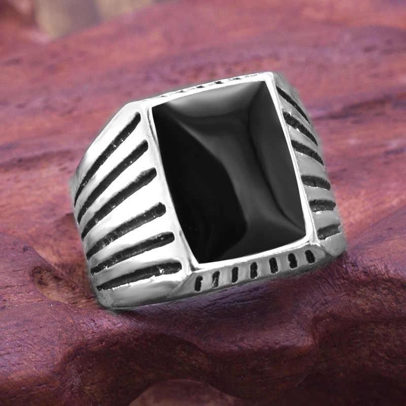 Винтаж черный камень в полоску квадратный кольца Для мужчин Модные украшения Для мужчин обручальные вечерние подарок