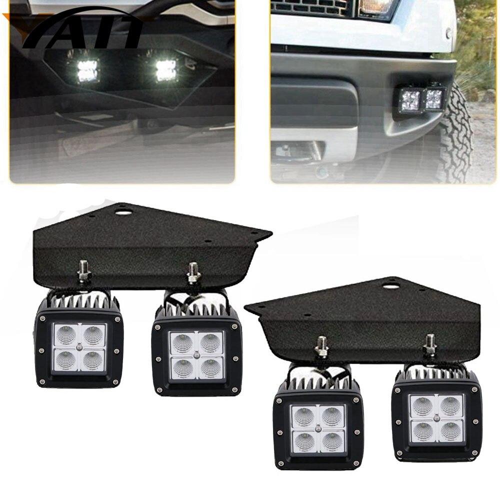 Yait 4pcs 3x3 led work light Cube Pods LED Fog Light Kit w/ Lower Bumper Mounting Brackets For 2010-2014 Ford F150 SVT Raptor