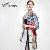 [Vianosi] النمط الأوروبي العلامة التجارية والأوشحة و الشالات للنساء الأزياء تصميم الحرير وشاح النمط الفني باندانا VA006