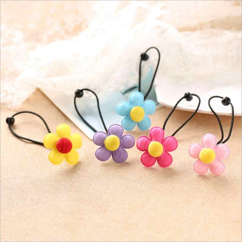 Girls Floral Elastic Hair Bands High Gum Quality  For Hair Accessories For Children Rubber Flower Bands Luxury Scrunchy