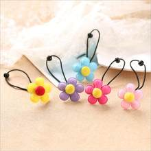 Girls Floral Elastic Hair Bands High Gum Quality For Hair Accessories For Children Rubber Flower Bands Luxury Scrunchy(China)