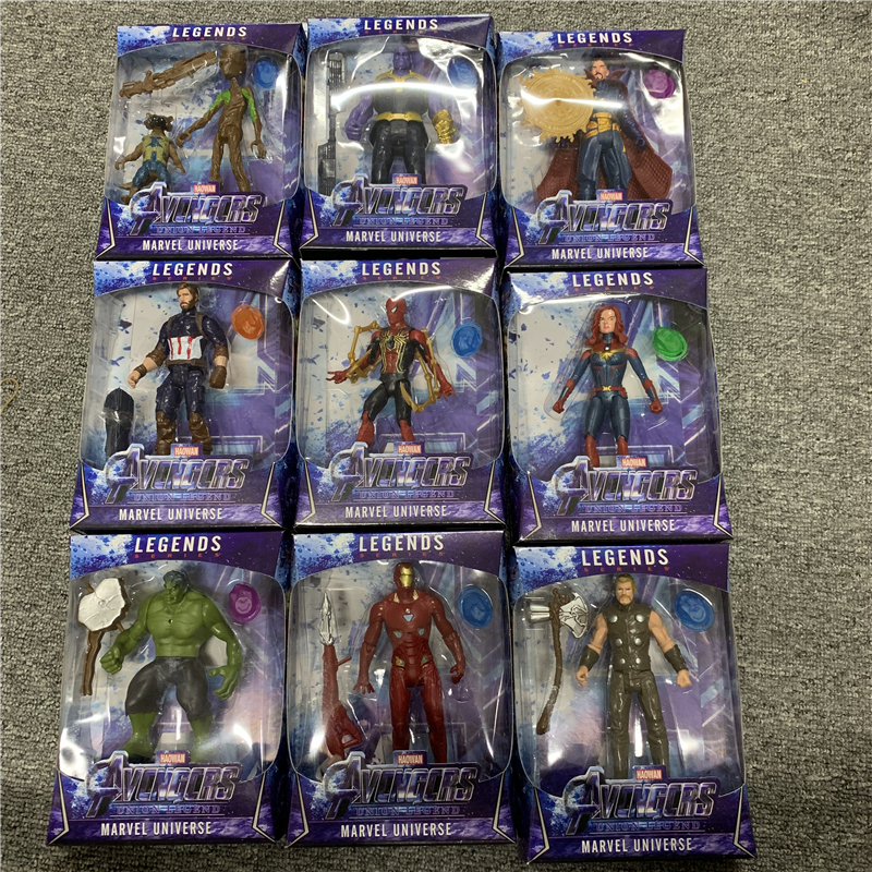 LED Thanos Black Panther Kids Marvel Captain America Thor Iron Man Hulk Avengers Action Figure Toys Model Doll