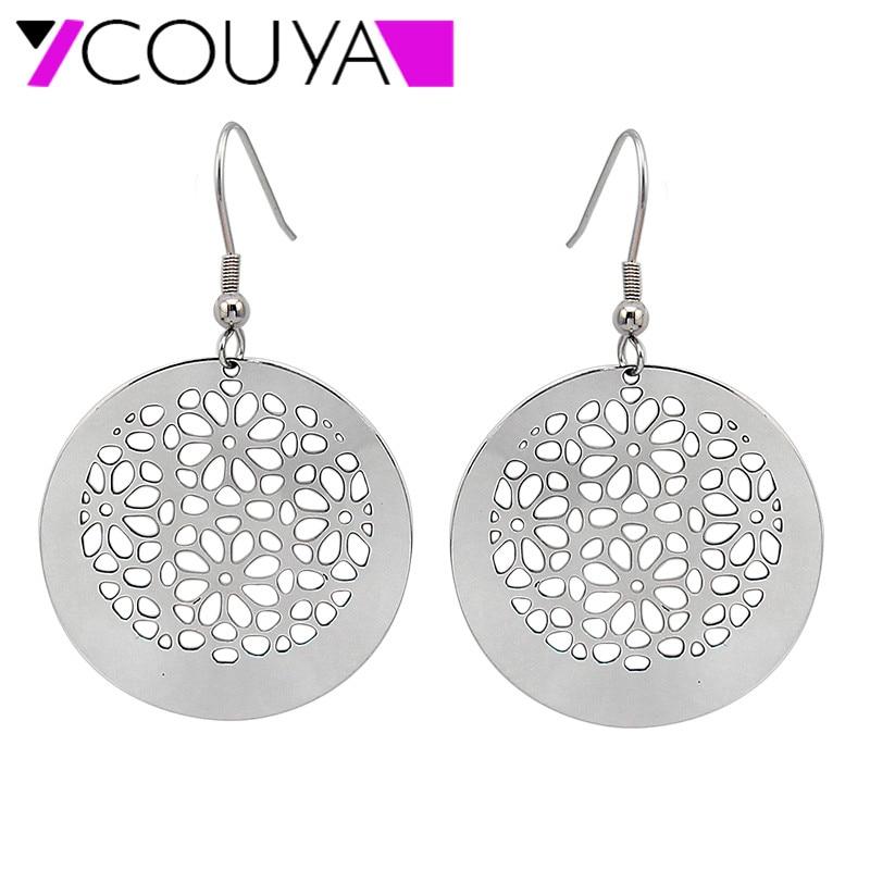 COUYA 2017 Fashion Round Flower Cut Surgical Steel Silver dangle earrings for Women jewelry Anti allergic earring jewelry