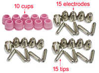 Parts AG60P cutting torch consumables for CUT50P CUT50DP, Accessories15 electrodes, 15 tips, 10 cups