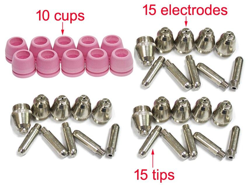 Peças consumíveis da tocha de corte para CUT50P AG60P CUT50DP, Accessories15 eletrodos, dicas de 15, 10 copos