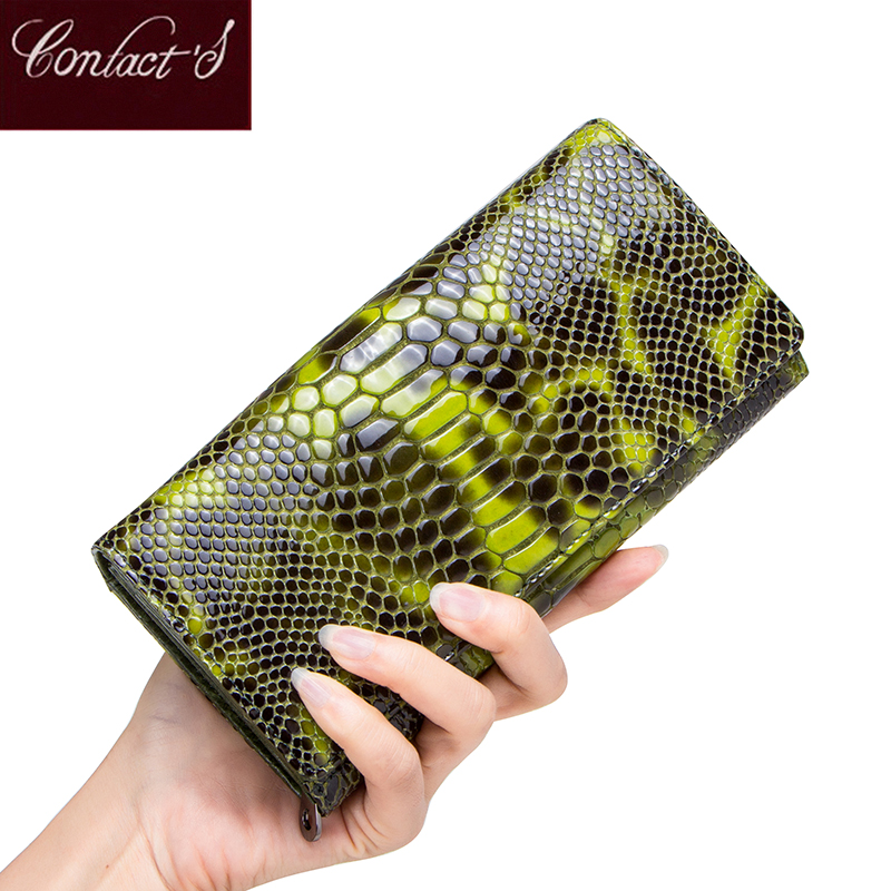 Contact's Women's Wallet Leather Brand Design Long Wallet Zipper Ladies Coin Purse Card Holder Large Capacity for Cell phones