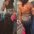 Dois Vestidos Pedaço de Baile 2015 Strass Frisado Vestidos Sereia Preto vestidos de Noite Vestidos de Festa Com Pedras Longas Backless Robe de Soirée