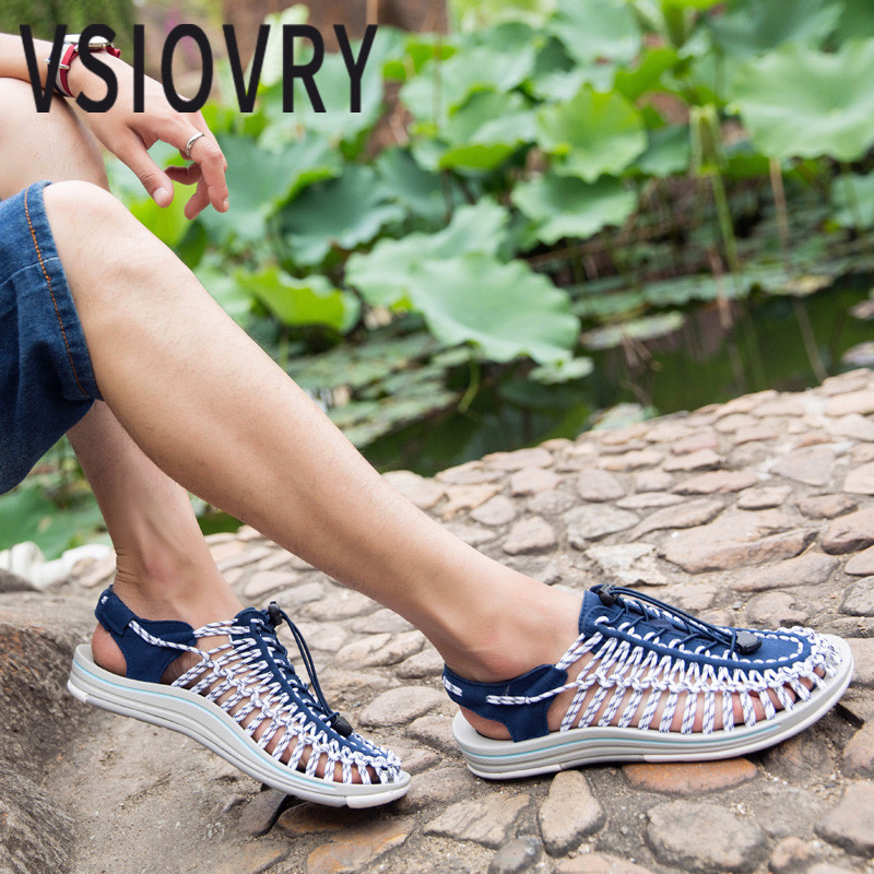 VSIOVRY Summer Men Beach Shoes 2018 Outdoor Beach Sandals For Male High Quality Outdoor Anti-slip Sandalias Zapatillas Hombre