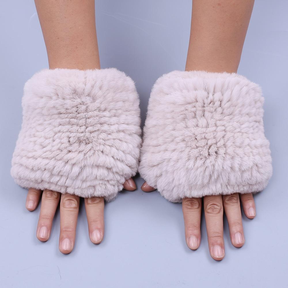 2019 New Genuine Rex Rabbit Fur Knitted Women's Fingerless Wrist Gloves Mittens Real Fur Winter Type Gloves Soft Warm Elastic