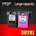 2Pcs 302XL Ink Cartridge For HP 302 Cartridge 302 XL use For HP Deskjet 2130 2135 1110 3630 3632 Officejet 3830 3834 4650 4655