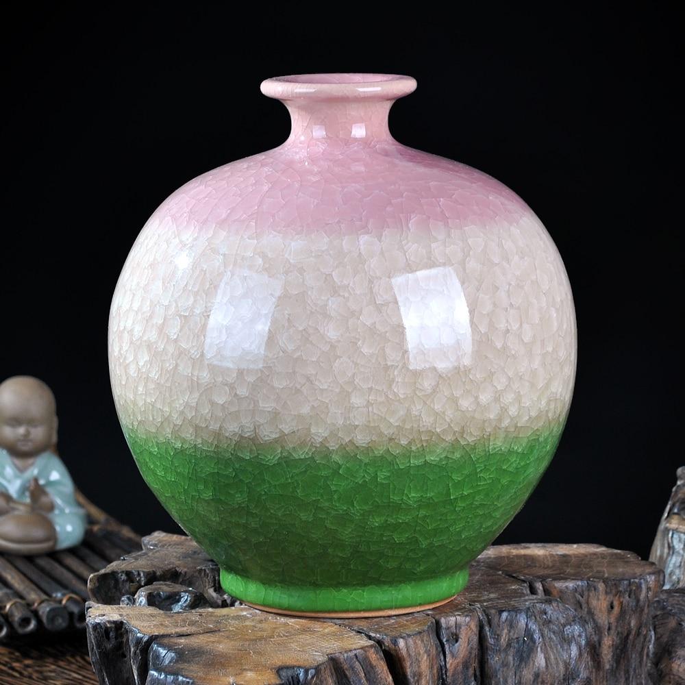 Jingdezhen ceramics kiln crackle glazed vase bottle pomegranate new Chinese modern living room decoration decoration