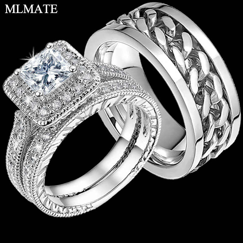 Mens Punk Rock Stainless Steel Chain Spinner Rings, Womens Princess Cut CZ Matching Engagement Bridal Wedding Ring Set