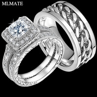 Мужские Punk Rock Нержавеющаясталь кольцо Spinner Кольца, женские Принцесса Cut CZ соответствующие Обручение свадебное обручальное кольцо комплект