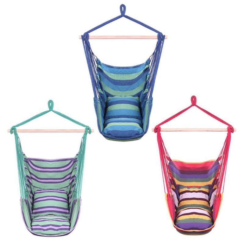 Unique Cotton Canvas Hanging Rope Chair With Pillow Multi Color E5M1