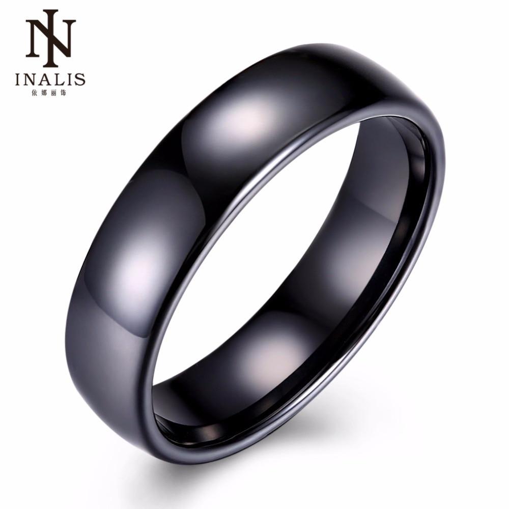 INALIS Noir et Blanc Mode 6mm En Céramique Anneaux pour Femmes Hommes Doigt Bijoux Parti Cadeau Simple Anneau