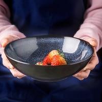 1PC KINGLANG Japanese Retro Ceramic Pigment Big Capacity Noodle Bowl