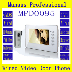 Latest Wired Magnetic Lock One to One Video door phone High Quality Smart Home 7 inch Screen Display Video Intercom Phone D95b