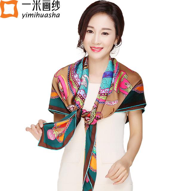 Inverno da marca de Luxo designer de impressão crown lenço foulard femme grande praça xale de cetim de seda pesado do vintage presente de Natal