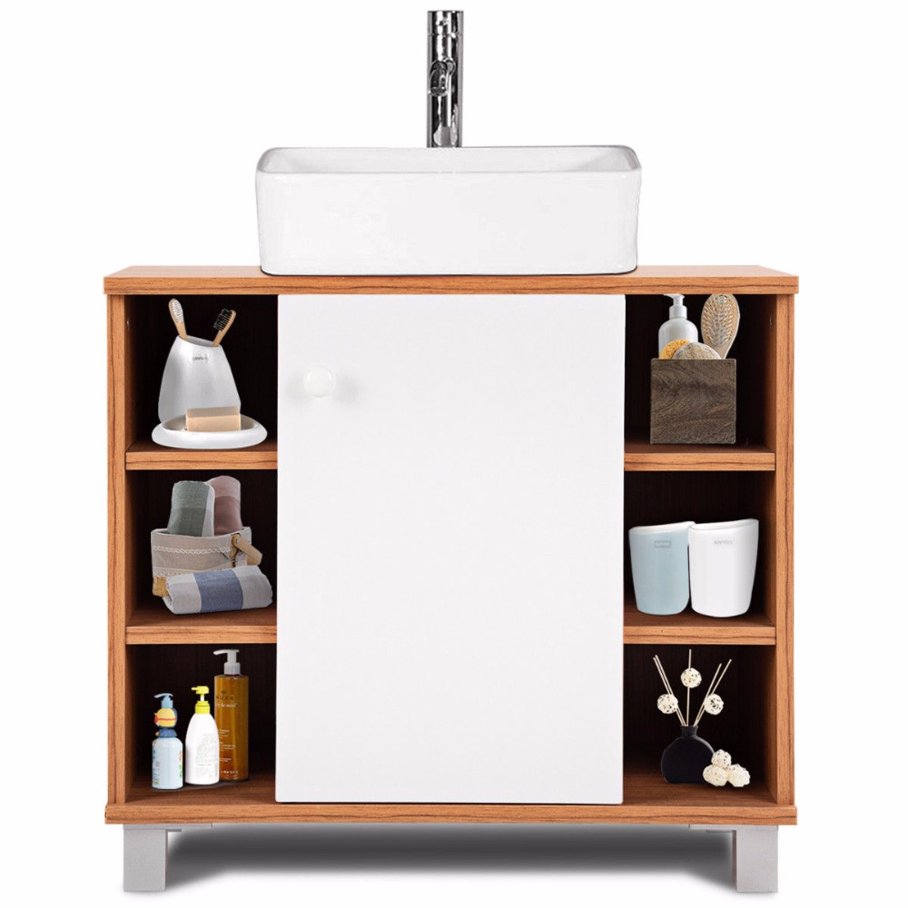 Giantex under sink cabinet bathroom spacesaver storage - Bathroom vanity under sink organizer ...
