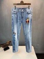 AH0306 модные для мужчин's джинсы для женщин 2019 взлетно посадочной полосы Роскошные известный бренд Европейский дизайн вечерние стиль