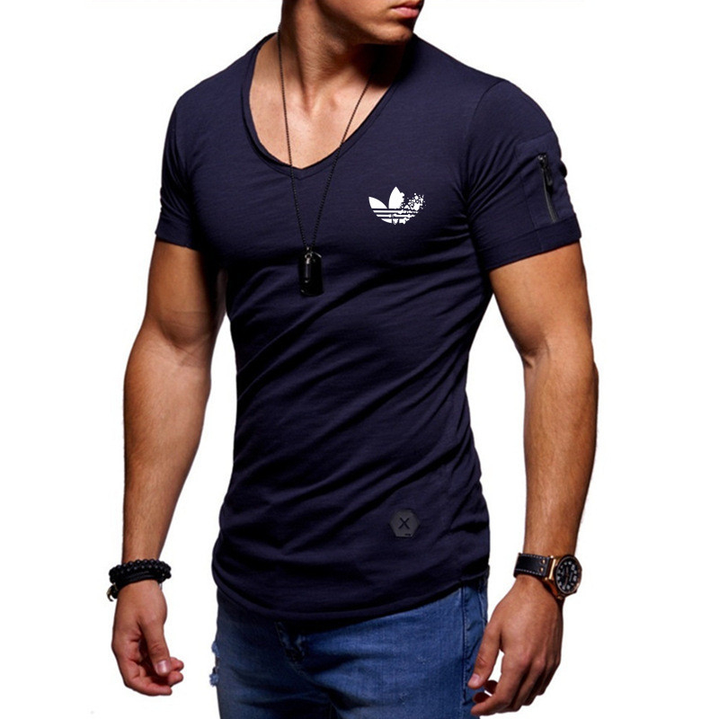 ALI shop ...  ... 32995233403 ... 4 ... 2019 fashion men's T-shirt Slim custom T-shirt brand design fashion luxury V-neck fitness casual T-shirt arm zipper T-shirt men ...