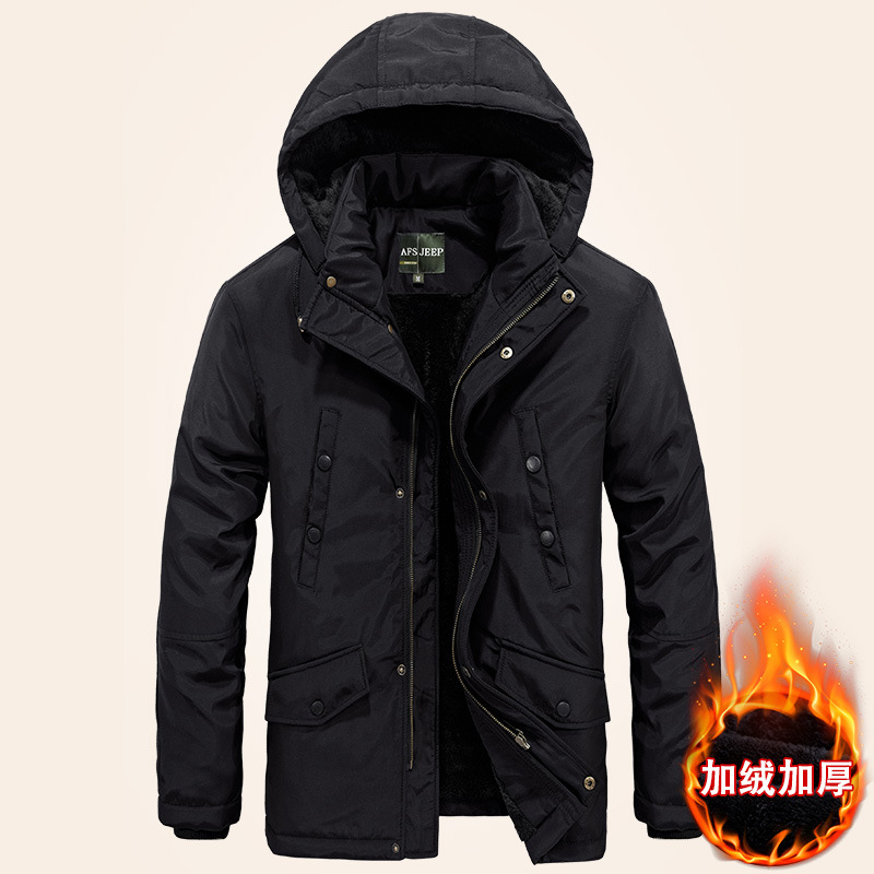 Latest AFS JEEP Plus Big Size Autumn Winter Jacket Men pocket 2017 Solid Hood Warm Coat Thick Jackets coat For men Military bert pulitzer men s big textured solid sport coat
