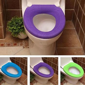 Cubierta de inodoro para el hogar, decoración de baño, Color puro, cálido, inodoro, lavable, funda de asiento, cojín