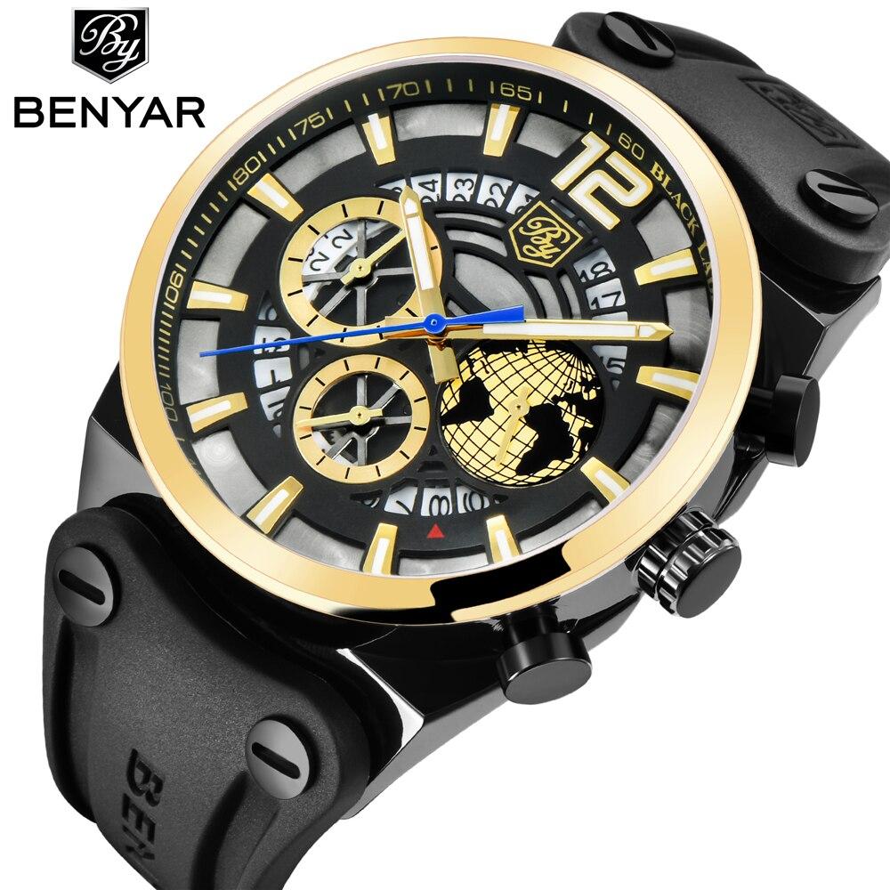 все цены на BENYAR Luxury Big Dial Sport Watch Men Waterproof Outdoor Skeleton Quartz Chronograph Sport Watch Man Clock erkek kol saati