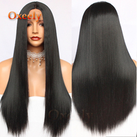 Oxeely Long Straight Hair Synthetic Lace Front Wigs Glueless Long Wigs Heat Resistant with 50% Yaki Hair for Fashion Black Women