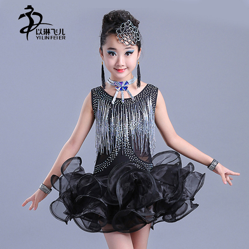 Dancewear High Quality Red Tassel Sequin Kids Children Girl Latin Cha Cha Costumes Professional Latin Dance Dress for Girls ...
