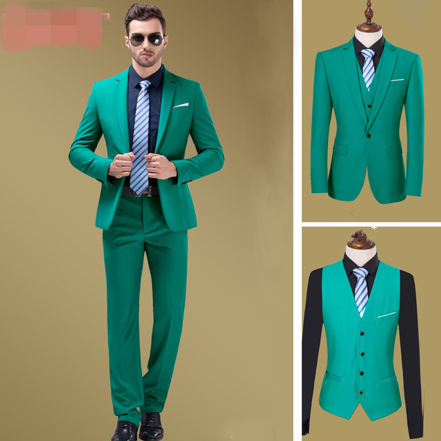 Custom Made Green Wedding Prom Tuxedos 3 Pieces Slim Fit Formal ...