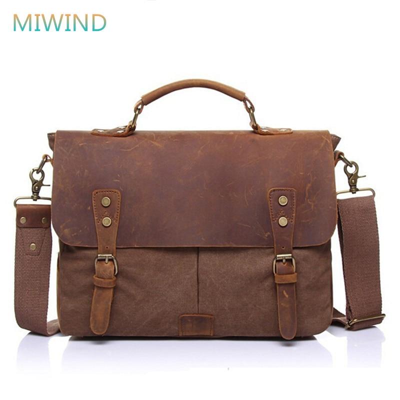 MIWIND Vintage Canvas Men Messenger Bags Genuine Leather Men's Handbag Bolsas Casual Crossbody Bags Portable Briefcase CB165 miwind 100
