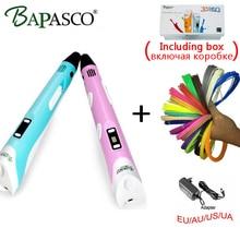 BAPASCO 3d Stift 2nd Generation 3D Magic Pen LED Temperatur Display Screen Hinzufügen Kostenlos ABS/PLA Filament Kinder Beste DIY Geschenk Freeshipping