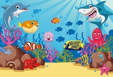 Laeacco Underwater World Fish Coral Children Room Photography Background Customized Photographic Backdrops For Photo Studio