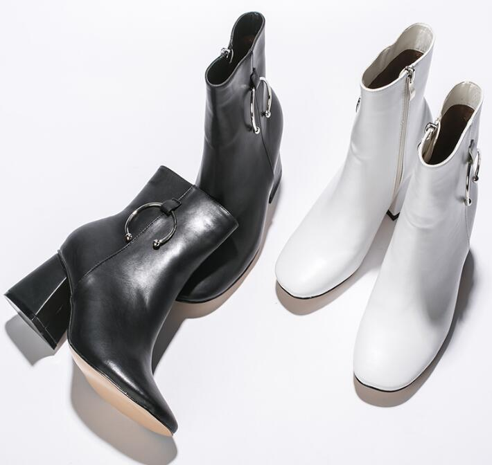 2018 Spring Fashion Silver Metal Ring Women Square Toe Ankle Boots Sexy Chunky Heel Ladies Zipper Boots Sexy Martin Boots glitter silver stars patchwork women sexy transparent pvc boots fashion peep toe ladies square heel ankle boots zipper back boot