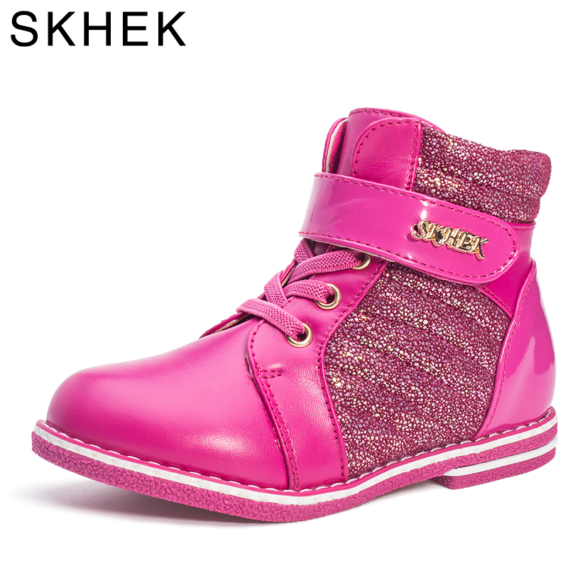 SKHEK New Autumn Winter Children Boots Fashion PU Waterproof Boots For Girls 4-8T Flat With Kids Snow Boots Warm Girls Shoes