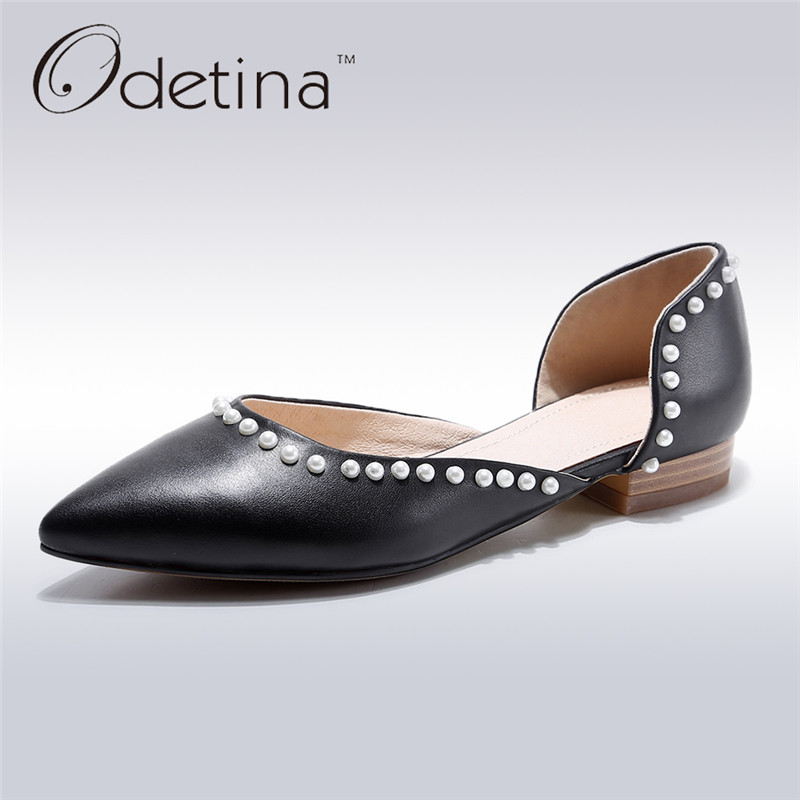 Odetina 2017 New Spring Women Genuine Leather Ballet Flats Pearls Summer Casual Flat Shoes Point Toe Loafers Slip on Big Size 43 2017 spring summer new women casual pointed toe loafers flats ballet ballerina flat shoes plus size 34 43
