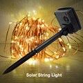 10 M 100 LED Solar Cordas Luz Decoração de Festa de Casamento Do Feriado Do Natal LED Fio de Cobre Luzes Cordas de Fadas Lâmpadas