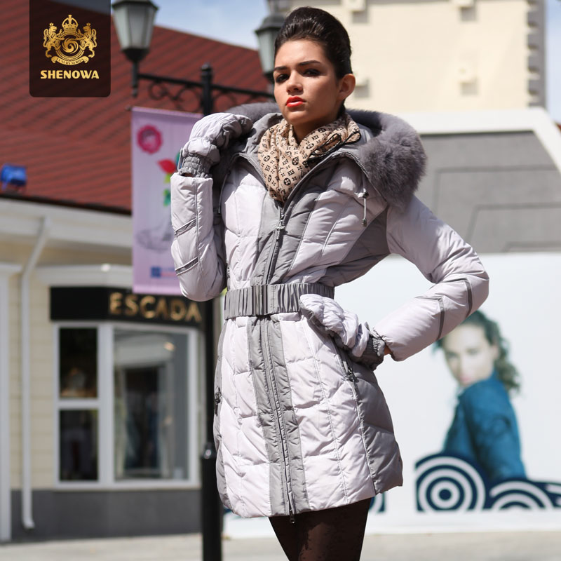 2014 Time-limited Top Fasion Winter Hooded Down Jacket Women Slim Medium Long Fox Fur Collar Luxurious Thicken Coat Gloves Ems 2014 new arrival rushed full women winter luxurious overcoat raccoon fur collar medium long hooded down jackets thicken coat ems