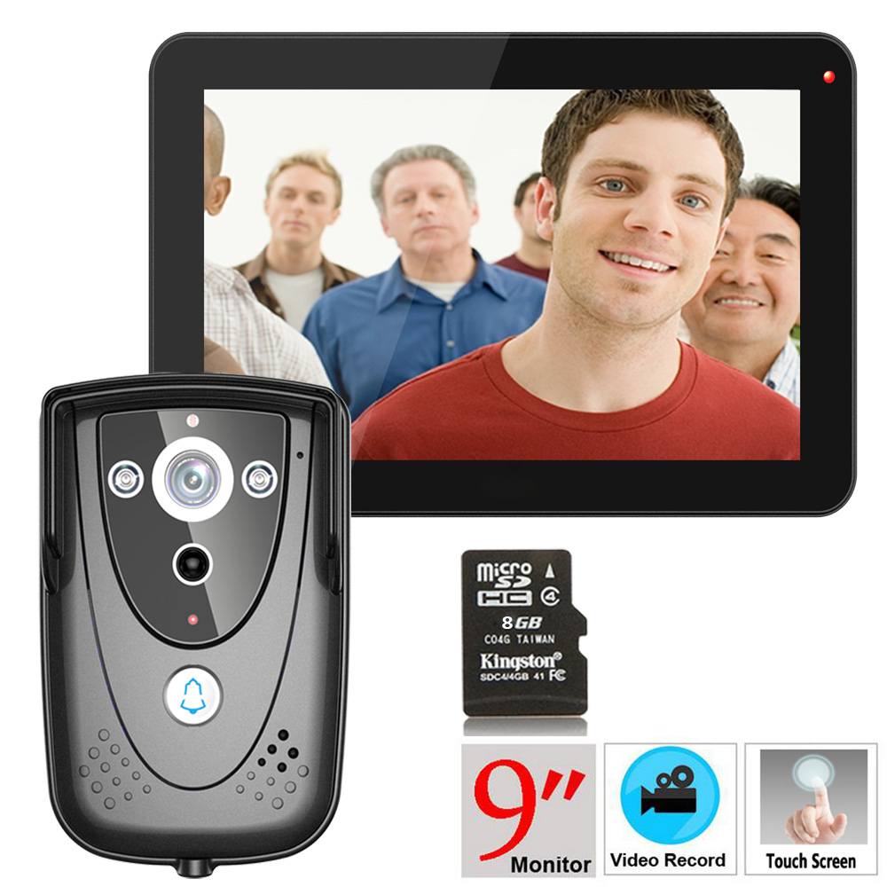 Mountainone 9 DVR Color Touch Screen Video Door Phone with PIR Record intercom System with IR camera 8G SD card Free ShippingMountainone 9 DVR Color Touch Screen Video Door Phone with PIR Record intercom System with IR camera 8G SD card Free Shipping
