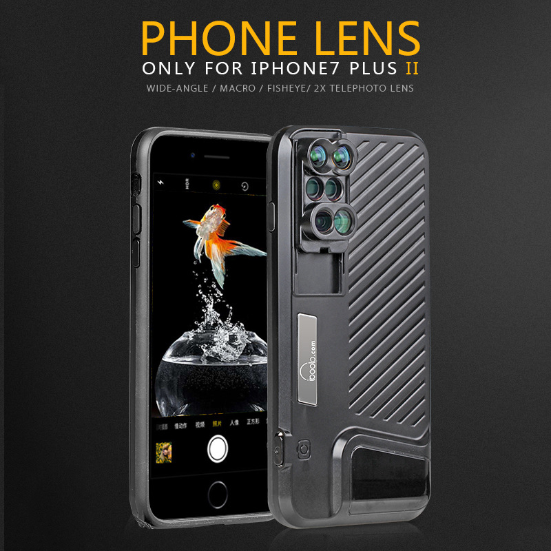 Aerb 6 in 1 Phone Lens kit 10X Macro Lens & 2X Fisheyes Telephone Lens HD Camera Mobile Phone Lens For for iPhone 7 8 Plus