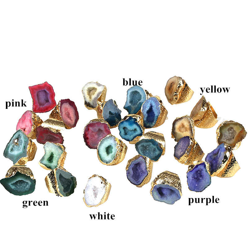 Big gold multi สี geode คริสตัล semi precious stone slice ลูกปัด charm เปิด hammered cuff แหวนสำหรับผู้หญิง man เครื่องประดับ